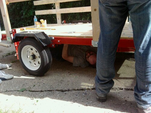 Another of my buddies taking a nap under the trailer... I mean helping tighten nuts undernieth