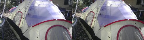Space blanket tarp tent.