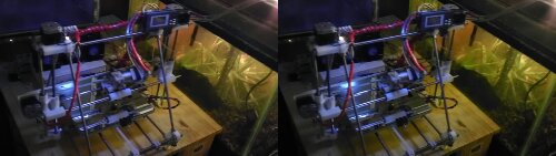 reprap 3d printer next to aquarium